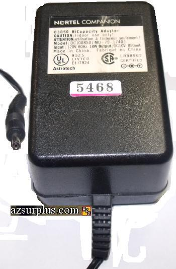 NORTEL DC100850AC ADAPTER 10V 850mA C3050 HICAPACITY POWER