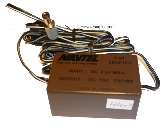 NAVTEL Car DC ADAPTER 10VDC 750mA POWER SUPPLY for Testing Times