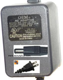 OEM AD-101ADT AC ADAPTER 10VAC 1A 18W ~(~)~ 2x5.5mm POWER SUPPLY