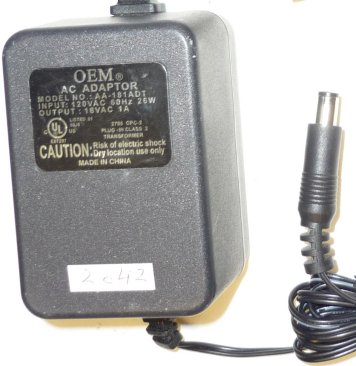 OEM AA-181ADT AC ADAPTER 18VAC 1A 26W ~(~)~ 3x6.5mm POWER SUPPLY
