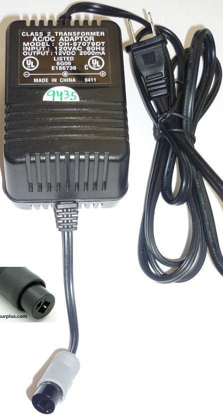 OH-57079DT AC ADAPTER 12VDC 2000mA USED -(+) 2PIN 2PIN DIN MEDIC