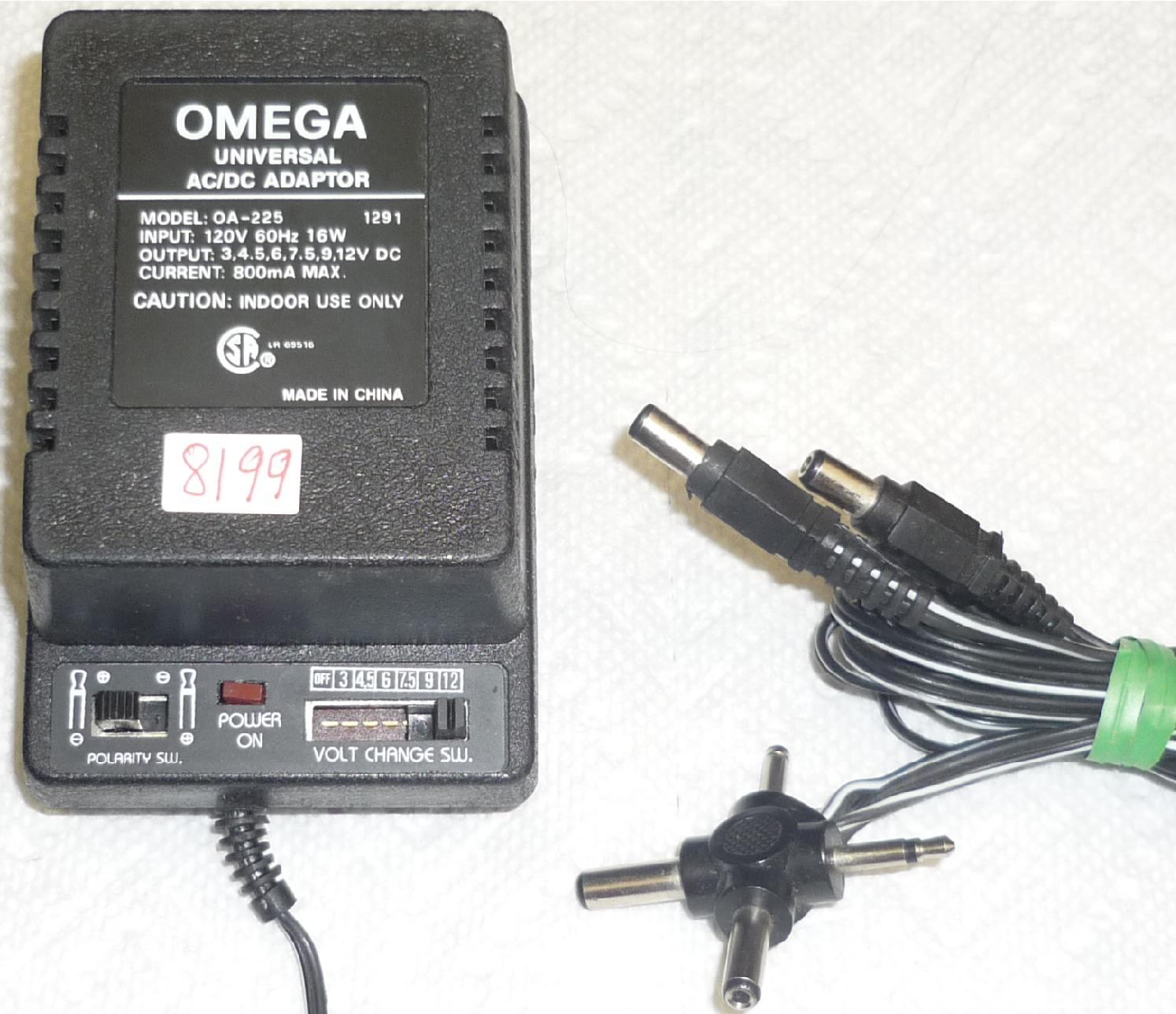 OMEGA OA-225 UNIVERSAL AC DC ADAPTER USED 3,4,5,6,7.5,9,12VDC 80