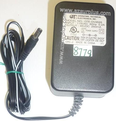 OPERATING TECHNICAL OTE-DV4525 AC ADAPTER 45VDC 250mA USED -(+)