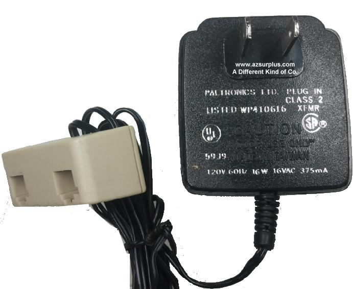PALTRONICS WP410616 AC ADAPTER 16VAC 375mA Used 2 RJ12 Plug 1 RJ