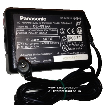 PANASONIC DE-891AA AC ADAPTER 8VDC 1400mA Used -(+)- 1.8 x 4.7 x