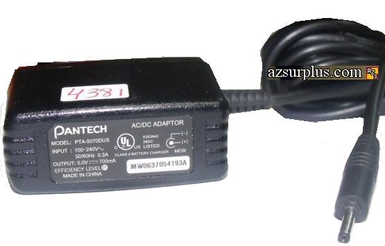 PANTECH PTA-5070DUS AC DC ADAPTER 5V 700mA CELLPHONE BATTERY CHA