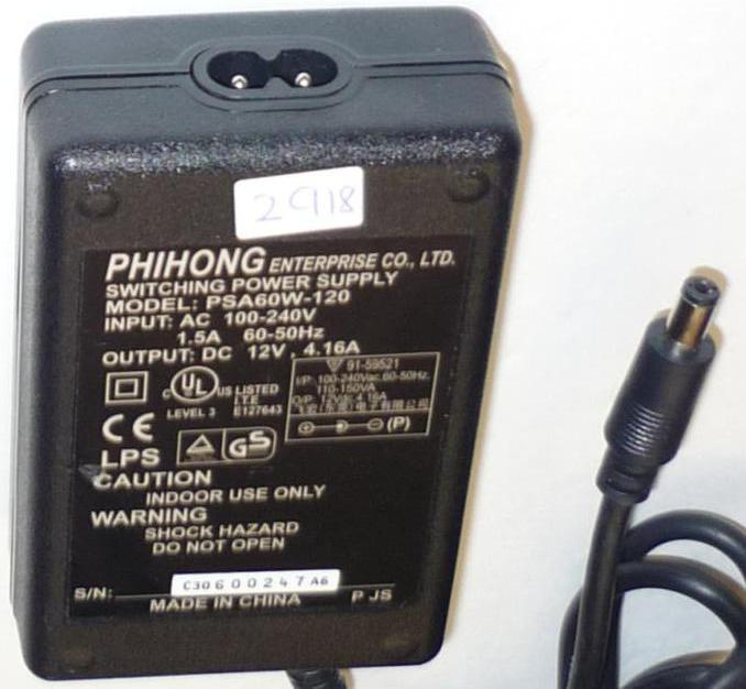 PHIHONG PSA60W-120 AC ADAPTER 12VDC 4.16A POWER SUPPLY