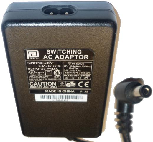 PHIHONG PSA15W-050 AC ADAPTER 5VDC 2.5A POWER SUPPLY