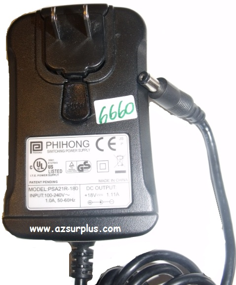 PHIONG PSA21R-180 AC ADAPTER 18VDC 1.11A Used 2.7 x 5.4 x 10.4 m