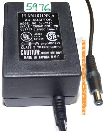 PLANTRONICS DV-7520 AC ADAPTER 7.5VDC 200mA USED POWER SUPPLY