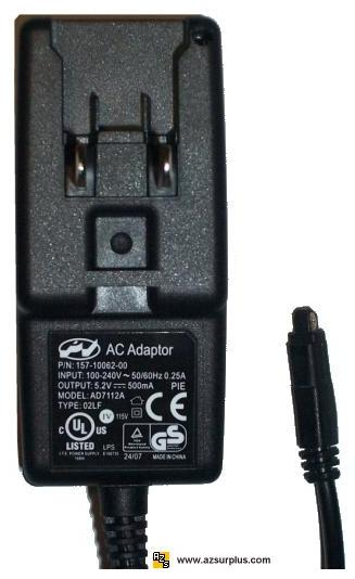 PV AD7112A AC ADAPTER 5.2V 500mA SWITCHING POWER SUPPLY FOR PALM