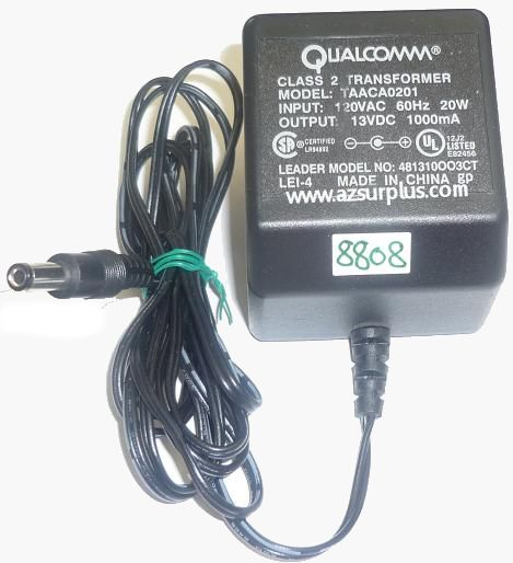 QUALCOMM TAACA0201 AC ADAPTER 13VDC 1000mA USED -(+) 2.5x5.5mm R