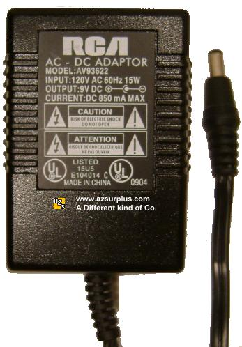 RCA AV93622 AC ADAPTER 9Vdc 0.85A +(-) 1.5x5.5mm 120vac FOR CAS