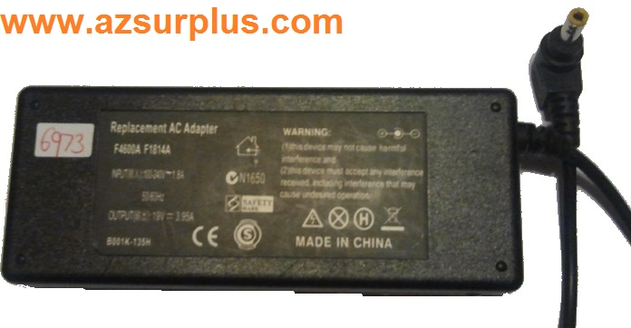REPLACEMENT F4600A AC ADAPTER 19VDC 3.95A Used 3 x 5.4 x 12.5 mm