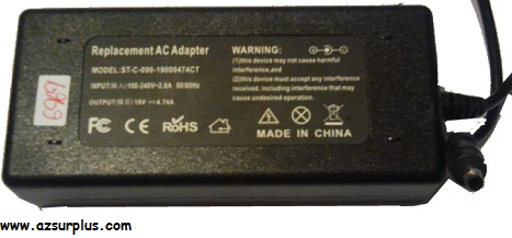 REPLACEMENT ST-C-090-19000474CT AC ADAPTER 19VDC 4.74A -(+) Used