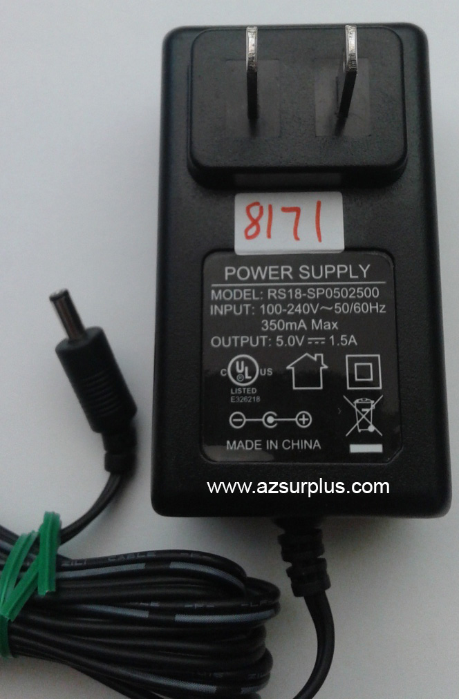 RS18-SP0502500 AC ADAPTER 5VDC 1.5A -(+) Used 1x3.4x8.4mm Straig