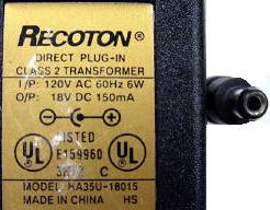 RECOTON HA35U-18015 AC ADAPTER 18V DC 150mA POWER SUPPLY Speaker