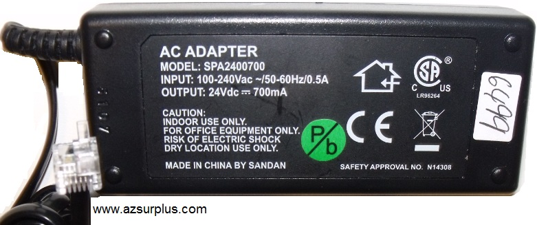 SANDAN SPA2400700 AC ADAPTER 24VDC 700mA Used Power Supply Made