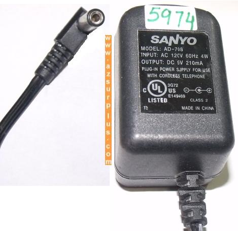 SANYO AD-708 AC ADAPTER 9V DC 210mA PLUG IN CORDLESS PHONE POWER