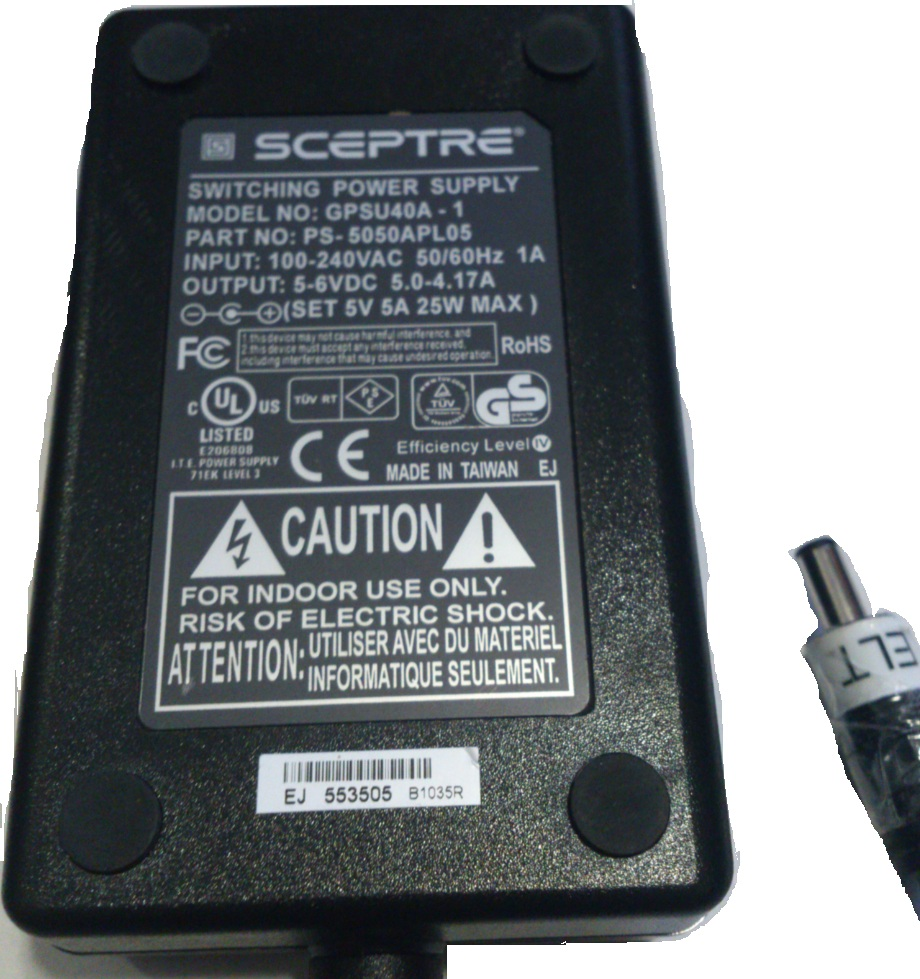 SCEPTRE GPSU40A-1 AC ADAPTER 5VDC 5A 25W USED 2X5.5mm -(+)- 100-