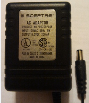 SCEPTRE PD9200PL6A AC ADAPTER 9VDC 200mA Used -(+) 2.5x5.5mm 120