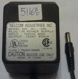 SELCOM DV-1283 AC ADAPTER 12V 830MA USED 2x5.5mm POWER SUPPLY