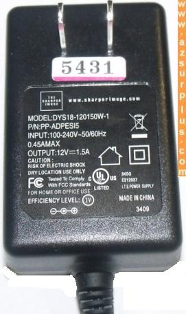 THE SHARPER IMAGE DYS18-120150W-1 AC ADAPTER 12V 1.5A -(+) 2x5.5