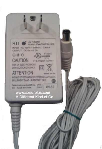 SII PW-0006-WH-U2 AC ADAPTER 6VDC 1.5A 3 x 3.2 x 9.5 mm Straight