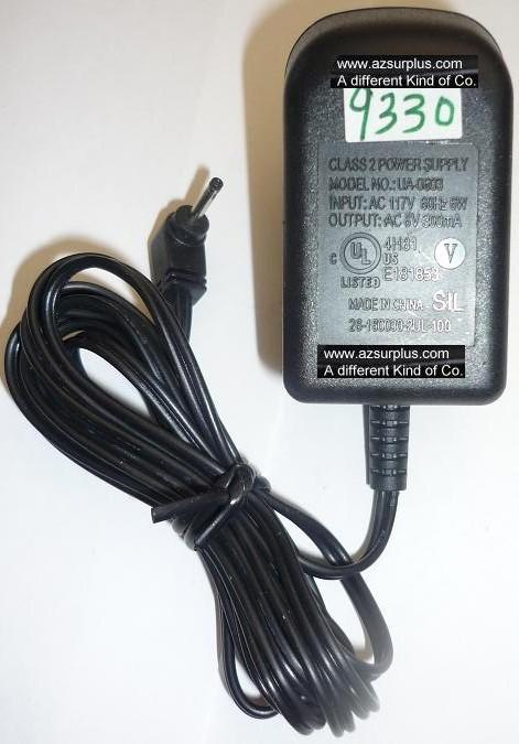 SIL UA-0603 AC ADAPTER 6V 300mA USED 0.5x1.1x10mm Round Barrel P
