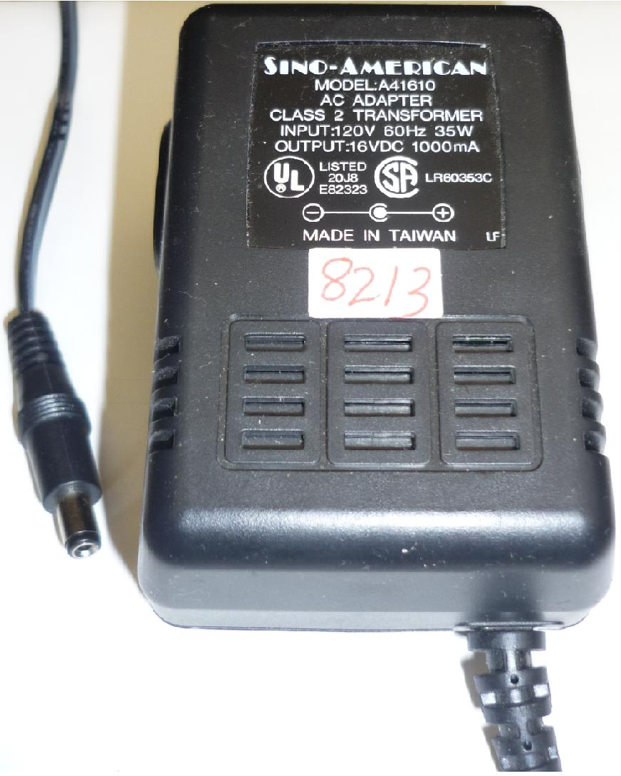 SINO-AMERICAN A41610 AC ADAPTER USED -(+)2x5.5 ROUND BARREL 16VD