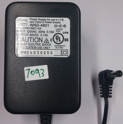 SKYNET WND-4801 AC ADAPTER 48VDC 0.13A USED -(+)- 2x.5.5mm 120V