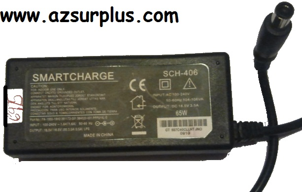 SMARTCHARGE PA-19900-18H2 AC ADAPTER 18.5VDC 3.5A Used 5.1 x 7.3
