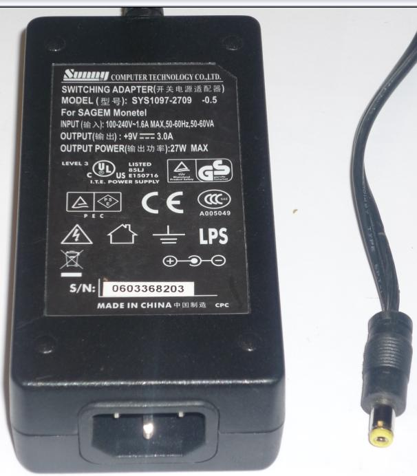 SUNNY SYS1097-2709 AC ADAPTER +9VDC 3A 27W -(+) 2x5.7mm ROUND BA