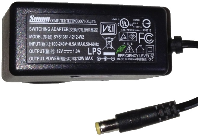 SUNNY SYS1381-1212-W2 AC ADAPTER 12VDC 1A USED -(+) 2x5.5mm 100-