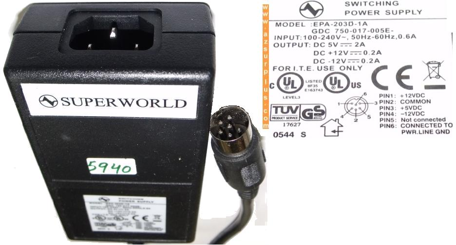 SUPER WORLD EPA-203D-1A AC ADAPTER 12V 0.2A 5V 2A SWITCHING POWE