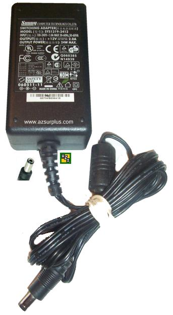 SUNNY SYS1319-2412 AC ADAPTER 12VDC 2A 24W SWITCHING POWER SUPPL