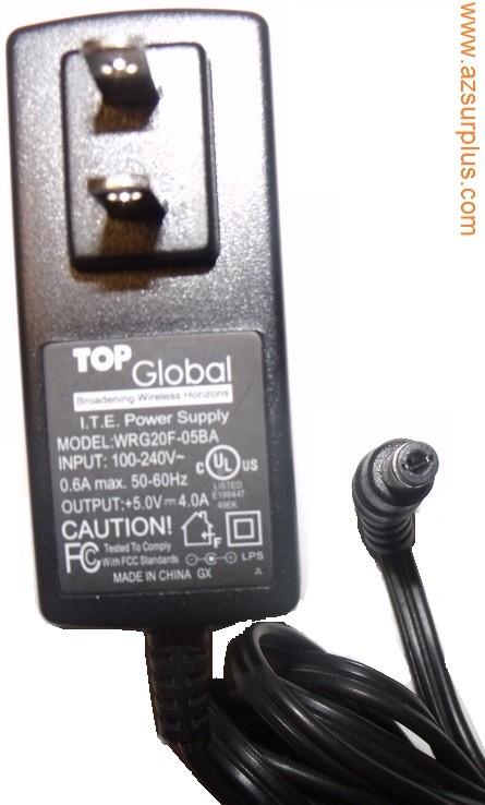TOP GLOBAL WRG20F-05BA AC ADAPTER 5Vdc 4A -(+)- 2.5x5.5mm Used