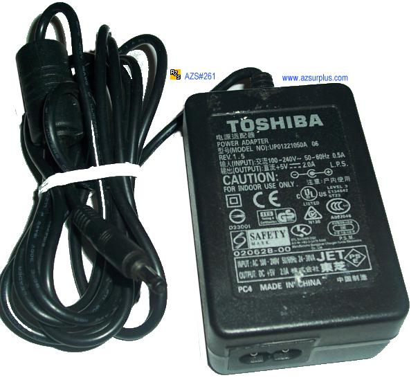 TOSHIBA UP01221050A 06 AC ADAPTER 5VDC 2.0A PSP16C-05EE1
