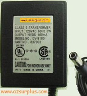 UNEX DV-9100 AC ADAPTER 9VDC 100mA PLUG IN POWER SUPPLY 837003 C