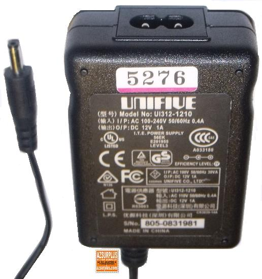 UNIFIVE UI312-1210 AC ADAPTER 12Vdc 1A Used -(+)- 1.2x3.4mm Swit