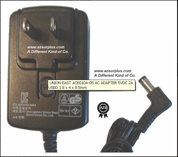 UNION EAST ACE010A-05 AC ADAPTER 5VDC 2A USED -(+) 2x5.5mm 100-2