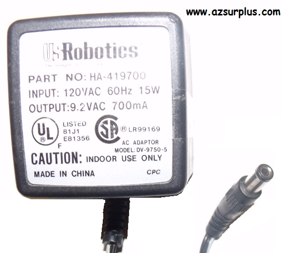 US ROBOTICS DV-9750-5 AC ADAPTER 9.2VAC 700mA Used 2.5x 5.5mm RO