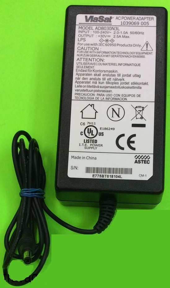 ViaSat AD8030N3L AC Adapter 30vdc 2.5A -(+) 2.5x5.5mm Charger