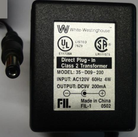 WHITE WESTINGHOUSE 35-D09-200 AC ADAPTER 9V 200mA DIRECT PLUG-IN