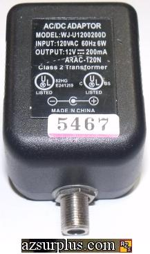 WJ-U1200200D AC ADAPTER 12V 200mA CLASS 2 TRANSFORMER
