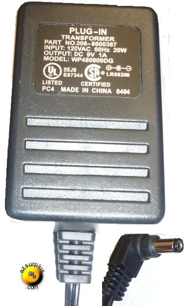 WP480909DG AC ADAPTER 9VDC 1A NCR 7892 BARCODE SCANNER PLUG IN
