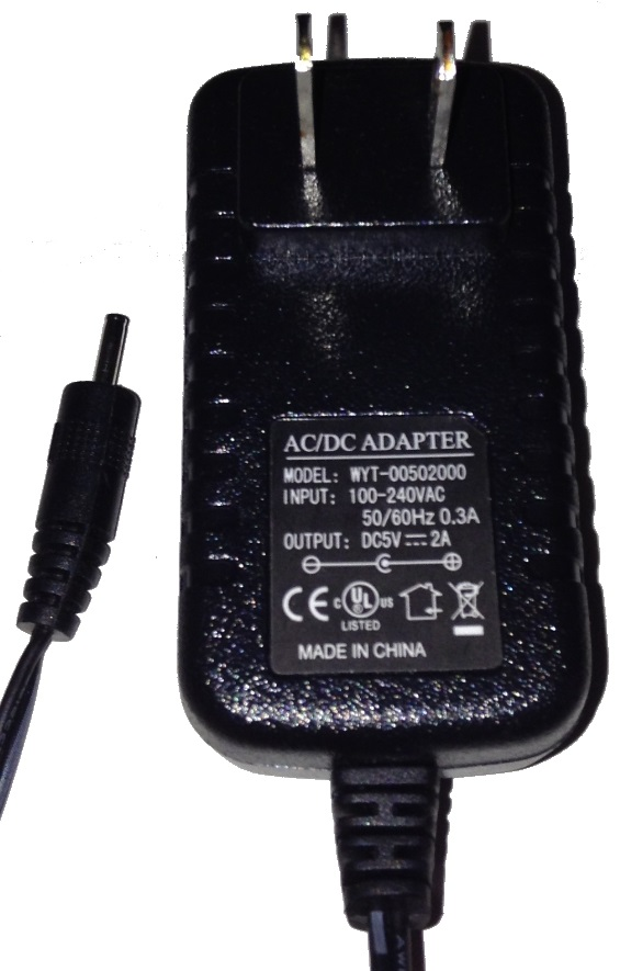 WYT-00901500 AC ADAPTER 9V DC 1500mA USED 0.8 x 2.4 x 10.3 mm ST