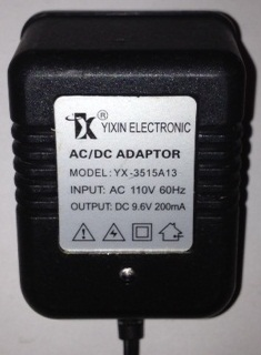 YIXIN ELECTRONIC YX-3515A13 AC ADAPTER 9.6VDC 200mA USED 3PIN