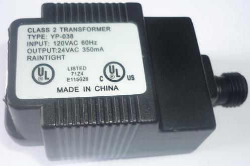 YP-038 AC ADAPTER 24VAC 350mA USED 2 PIN DIN FEMALE CLASS 2 TRAN