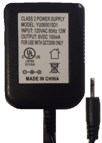 YU060010D1 AC ADAPTER 6VDC 100mA USED 2.5mm Jack Connector